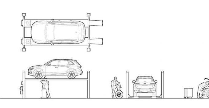 Bloques AutoCAD Elevador Vehículos GRATIS